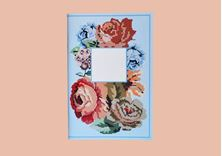 Image de Quixotic - Embroidered Flowers: ciel & peach notebook / Σιέλ & ροδακινί τετράδιο